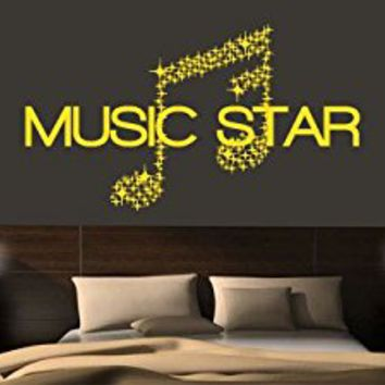 Wall Decal Vinyl Sticker Decals Art Decor Design Sign Music Star Stars Note Melody Jazz Rap Hip Hop Living Room Dorm Office Bedroom(r1012)