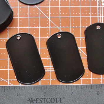 Stainless Steel  Dog Tags Army Military ID Tag Blanks 8 tags Black