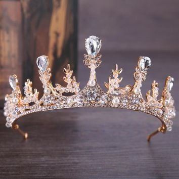 Silver Gold Crystal Crowns Bride Tiara Headpiece