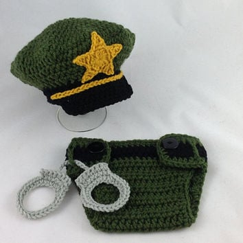 Baby Sheriff Outfit - Crochet Sheriff Costume - Baby Police Uniform - Newborn Police Outfit - Infant Police Outfit - Baby Shower Gift