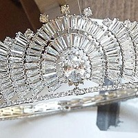 Cubic ZIRCON Tiara Crown Wedding Cosplay Super Nice