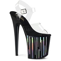 "Flamingo 808HP-1 Black Hologram Platform Sandal Shoe  8"" High Heels - Pre-Order"