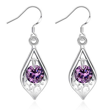 silver-plated earing Purple Stone Shell drop Earring silver plated Earrings 2 7 MP