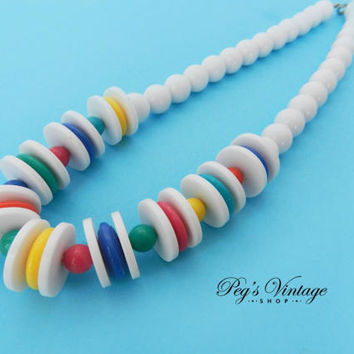 Retro 1960's Chunky Lucite Bead Necklace / White, Red, Green, Blue & Yellow Bead  Necklace/Choker