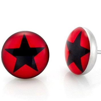 Black and Red Star Graphic Stud Earrings for Men