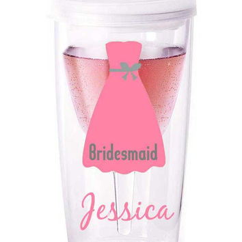 Personalized bridal party tumblers, bridesmaid gift, bridal party wine glass, bride wine