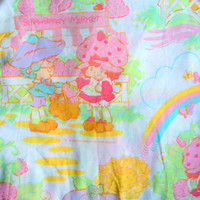 Vintage Strawberry Shortcake Full Fitted Sheet 1980