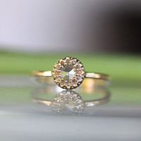 Rose Cut Moissanite 14K Gold Engagement Ring, Stacking Ring (Limited Edition) -  Made to Order