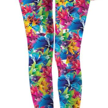 Colorful floral pattern leggings, nature themed girls clothing, blue, pink, red, yellow colors