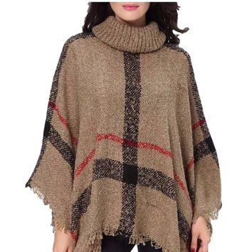 Women's Mocha/Black/Red Oversized Turtle Neck Knit Plaid Poncho Jacket