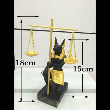 Teandy Anubis Scales of Justice Figurine Ancient Egyptian God Mythology Decor Statue