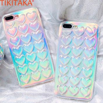 TIKITAKA Colorful Phone  Case For iPhone 8 Plus Case With Lanyard Gradient Laser Funda Love Heart Carcasas For iPhone 7 7 Plus