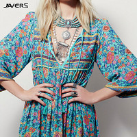 2017 New Women V-Neck Sexy Floral Print Boho Hippie Dress Vintage European Casual Loose Flower Retro Maxi Ethnic Beach Dress