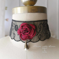 Victorian Choker Necklace red rose flower , Black lace steampunk pearl  ,luxury style Jewelry Handmade , Gothic goth Gypsy Great Gatsby