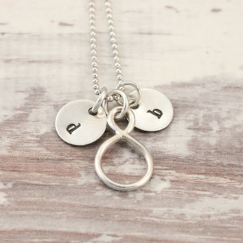 Infinitiy necklace, initial necklace, sterling silver, together forever, hand stamped, mom's necklace, gift for mom, gift for couple