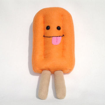 plush popsicle toy pretend food, orange creamsicle