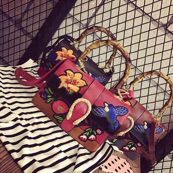 Fashion Retro Multicolor Embroidery Flower Bamboo Festival Bag Handbag Single Shoulder Bag Messenger Bag