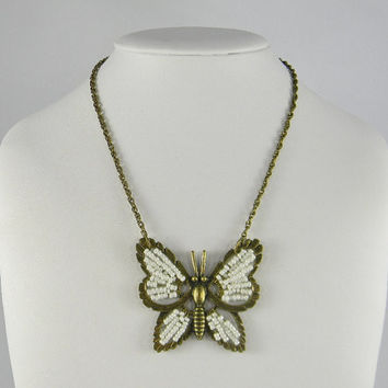 Anthropologie - Inspired VINTAGE Style WHITE & GOLD Seed Bead Butterfly Pendant Necklace