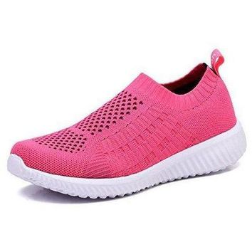 Athletic Flyknit Breathable Running Shoes - Pink