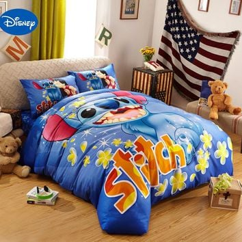 Blue Disney Cartoon Lilo and Stitch Bedding Sets for Boys Bedroom Decor Cotton Bedclothes Comforters Single Twin Queen King Size