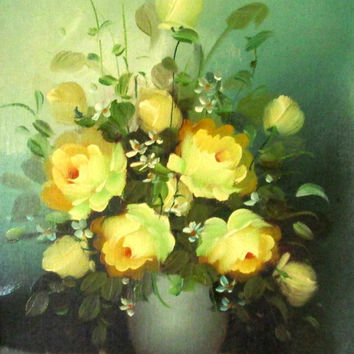 Original Oil Painting, Yellow Roses, Still LIfe, Fine Art Painting, Vintage Wood Frame