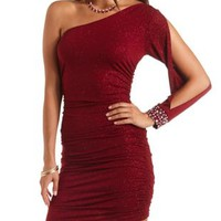 One Shoulder Glitter Bodycon Dress - Burgundy Metallic
