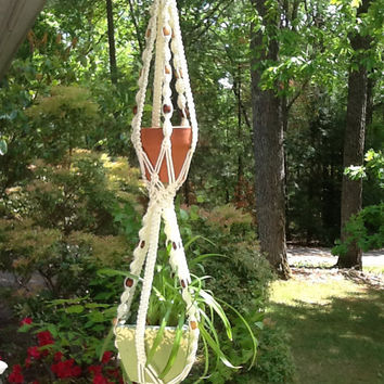 Macrame Plant Hanger, cream color two tier, double plant hanger with wooden beads, 4 mm Polyolefin cord, vintage style, neutral color hanger