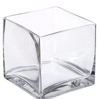 "Clear Glass Square Vase - 5"" Tall x 5"" Wide"