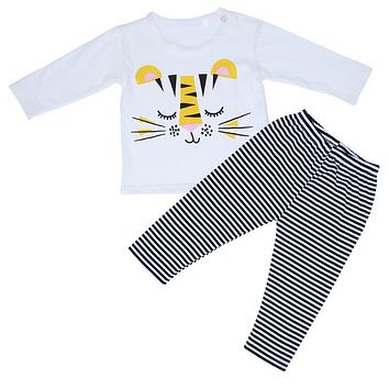 Children Clothes Cartoon Animal Tiger Monkey Print Long Sleeve Shirt Tops + Striped Pants Outfit Kids Casual Clothes
