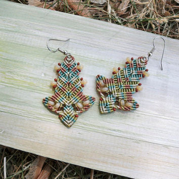 Bohemian leaves, macrame earrings, micro macrame jewelry, boho chic, beaded leaves - pastel green brown sand