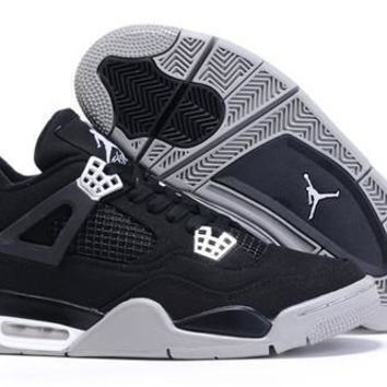 Cheap Nike Air Jordan 4 Men Shoes Canvas Black Grey