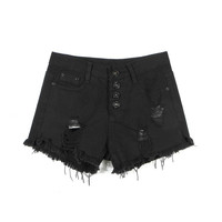 Black Fringe Ripped Denim Shorts
