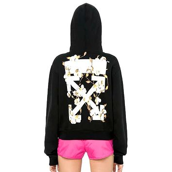 OFF-WHITE 2019 new back floral print hooded sweater Black