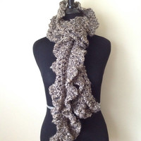 Brown Cozy Ruffle Scarf/Brown Scarf/Cozy Brown Scarf
