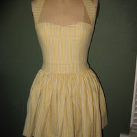 Striped Yellow Sweet Heart Halter Mini Dress by SweetHeartClothing