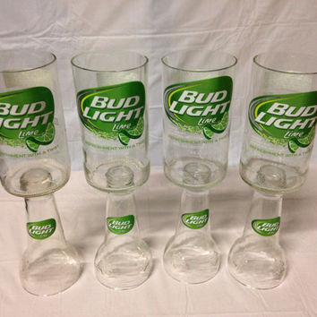 Bud Light Lime Beer Bottle Wine Glasses. Recycled Glass Bottles. Christmas gift for Wine Drinker.