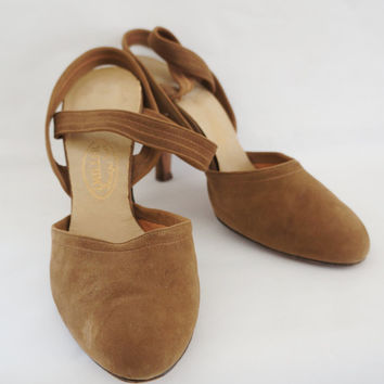 I.Miller Vintage Mad Men 50's 60's Suede Taupe Heels Size 6 1/2, Tan, Beige, Nude, Neutral, Brown, Camel