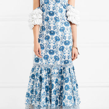 All Things Mochi - Natalia crochet-trimmed printed cotton midi dress