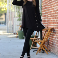 Chanel Black Button Long Sleeve Top