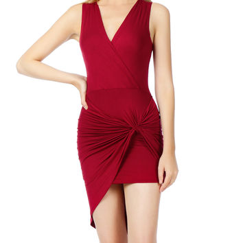 LE3NO Womens Lightweight Side Draped Bodycon Dress with Stretch (CLEARANCE)