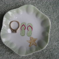 "Ring Jewelry Dish bowl Holder with star fish, flip Flop Gifts 4"" porcelain Hand painted by B Marsh great gift for the girls green pink tan"
