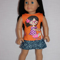 18 inch doll clothes, doll orange graphic print tank top, doll denim blue floral print skirt, Upbeat Petites