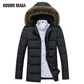 Cotton Hooded Winter Jacket Parka For Men Casual Windproof Fur Hooded Jackets Coats Mens Down Parkas