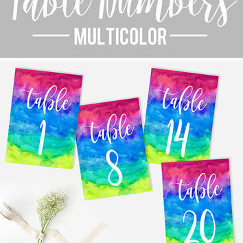 Wedding Table Numbers, Multi color Table Numbers, Reception Rainbow Table Numbers, DIY Wedding, Printable Table Numbers, Multicolor Wedding