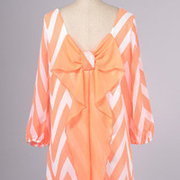 Chevron Meet Bow Dress, Orange - The Wooden Hanger