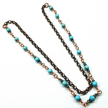 Wire Wrapped 24 Inches Copper Turquoise Necklace