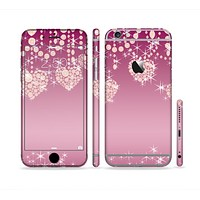 The Pink Sparkly Chandelier Hearts Sectioned Skin Series for the Apple iPhone 6/6s Plus