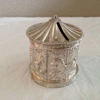 VINTAGE CAROUSELsilver plated bank made in Hong Kong