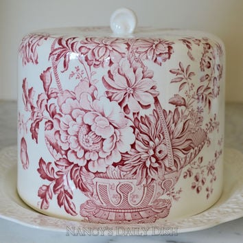 Red Transferware Cheese Bell / Cheese Dome with Matching Embossed Platter Victorian Basket of Flowers Vintage Charlotte