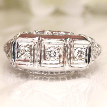 Antique Art Deco Engagement Ring Three Stone Diamond Trilogy Wedding Ring 14K White Gold Floral Filigree Ring